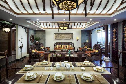 福州泰禾红峪新中式风格三居室设计效果图,古韵优雅
