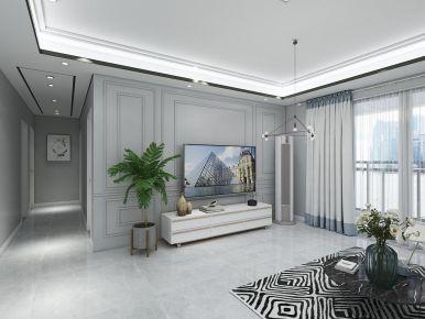 广州荔富湖畔北欧风-高级灰四居室装修效果图,简单素雅