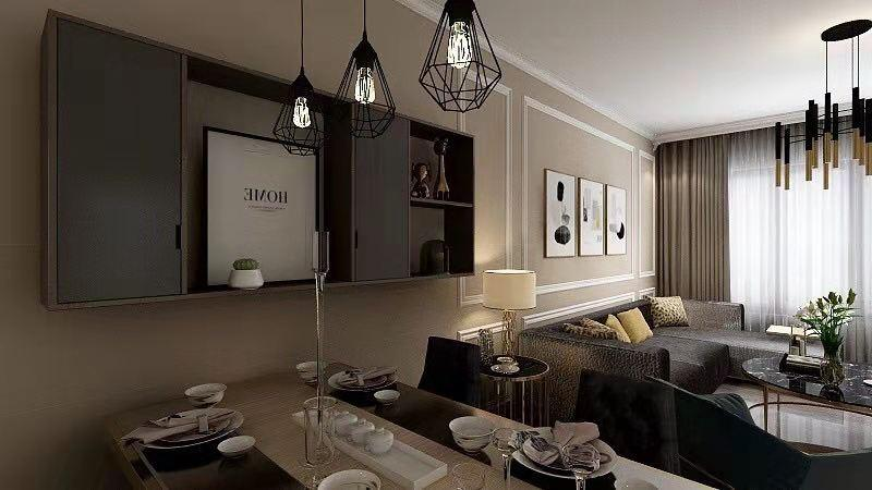 沈陽中海城現代簡約二居室裝修,暖暖的色彩