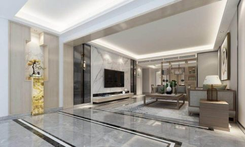 汕头新中式三居室装修效果图,黑白灰意境,超有品质感!