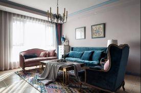 福州130㎡美式复古三居室装修,墙面的颜色刷得真有特色!