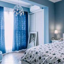 福州简约清新风格三居室装修效果图,优雅蓝色系美宅!