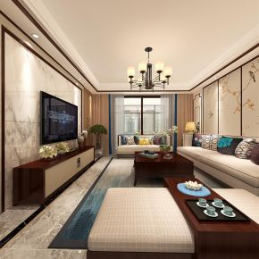 郑州新中式风格三居装修效果图