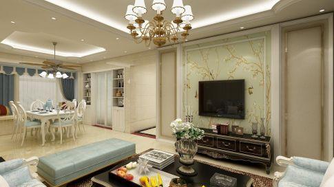 惠州园洲中心花园欧式风格三居室装修效果图