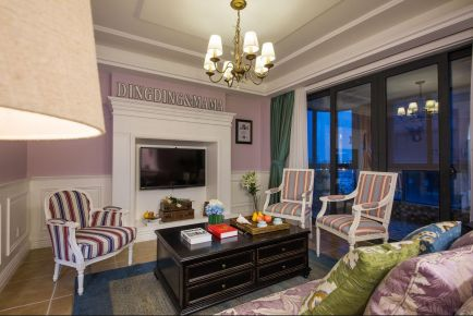 福州90㎡三居室美式风格装修效果图