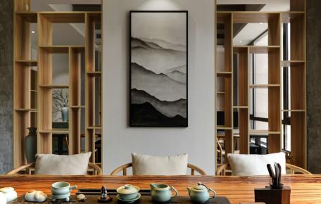 广州新中式办公室装修,感受古朴典雅之美