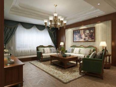 大连优雅美式风格三室装修效果图