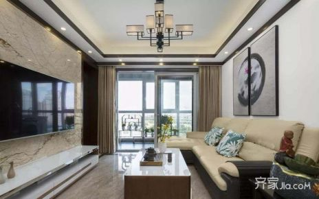 广州90㎡中式三居室装修,雅致宁静的东方韵味