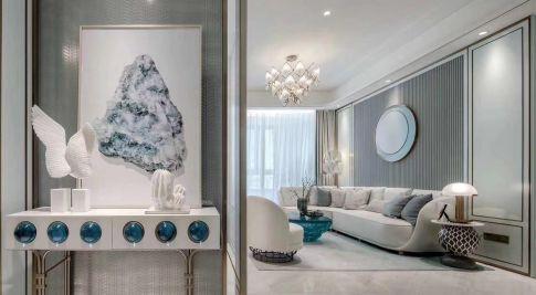重庆轻奢创意混搭三居装修,邀您欣赏蒂芙尼蓝之美