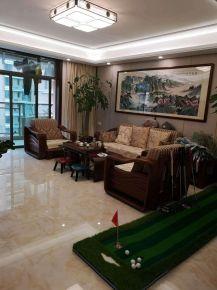 海口国兴城四居中式风装修效果图,中式元素为主营造出轻奢空间