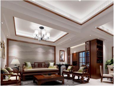 广州沉稳大气新中式风格二居室装修案例