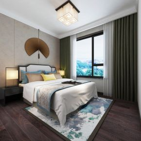 太原中正睿城168平新中式四居室装修效果图