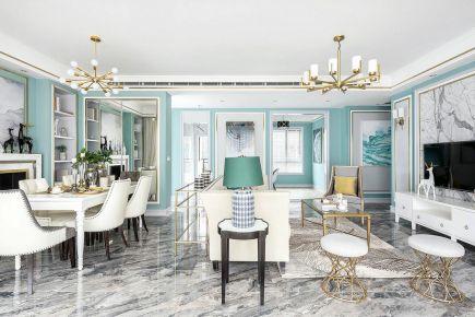 重庆维享家装饰120平四居室美式新家装修,蓝白色纯净视觉感