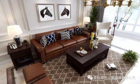青島海麗花園美式風格三居室裝修案例圖