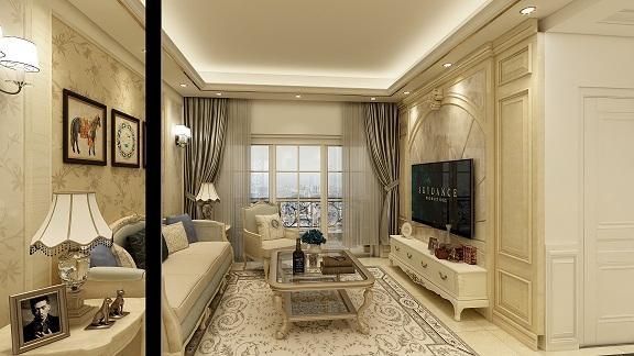 惠州国汇山简欧三室两厅装饰效果图