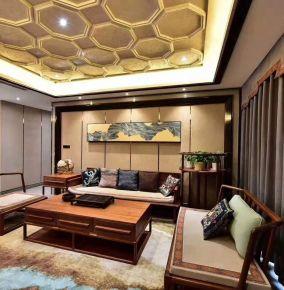 石家庄古典新中式四居装修,茶色悠然,新派雅趣