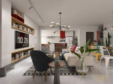 厦门北欧混搭三居装修,谁说撞色不能有质感?