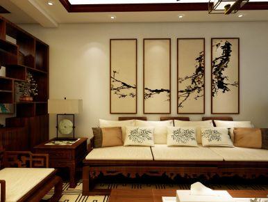福州古色古香中式三居室裝修效果圖