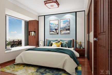 长沙简约雅致新中式四居装修效果图展示