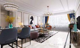 青島恒苑小區現代輕奢風格四居室裝修案例圖