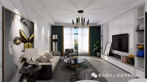 青岛花屿城现代简约风格三居室装修案例图