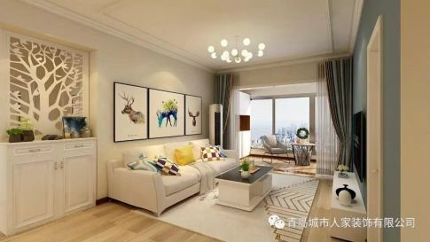 青島桂花園現代簡約風格三居室裝修案例圖