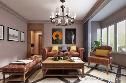 青岛车宋小区复古美式风格三居室装修案例图