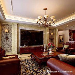 青島櫻花郡美式風格三居室裝修案例圖