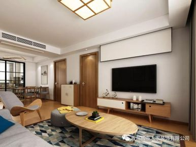 青島智慧之城日式風格三居室裝修案例圖
