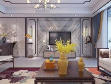 廊坊勝芳米蘭雅居新中式別墅裝修案例展示
