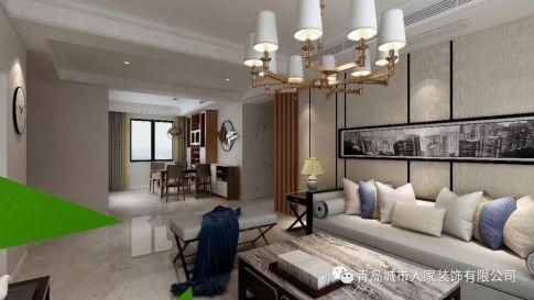 青岛海山慧谷现代风格三室装修案例图