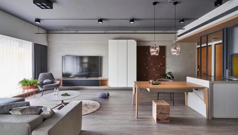 廊坊创意混搭风格四居装修,轻工业的摇滚之心