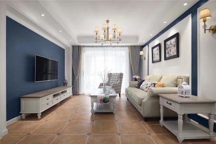 廊坊狮子城108平美式混搭三居室装修案例