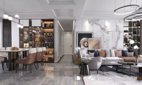 青岛蓝谷一号现代轻奢风格四居室装修案例图