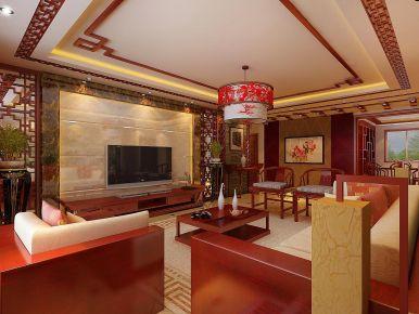保定128㎡三居室中式风格装修案例