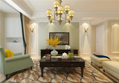青岛保利叶公馆美式混搭风格三居装修案例图