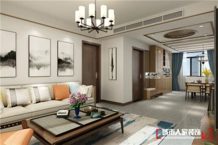 青岛都市果岭雅致中式风格三居室装修案例图