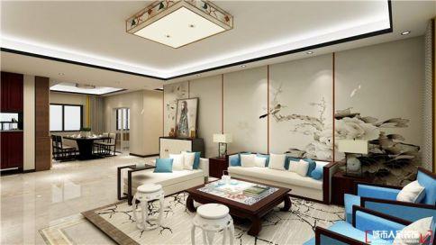青岛东旺疃新中式风格三居室装修案例图