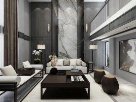 淮安東城江南別墅新中式風格裝修,簡潔大氣而又不失高雅精致