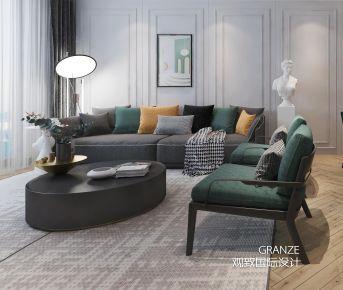 淮安金地中心輕奢美式風格三室裝修效果圖