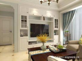 青岛海泊雅苑简美风格二居室装修案例图