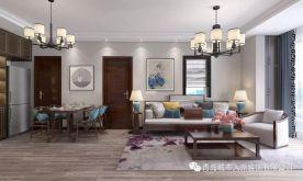 青島玉蘭花園雅致新中式風格三室裝修案例