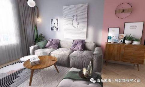 青岛山东路35号北欧风格三居室装修案例图,色调明亮温馨!