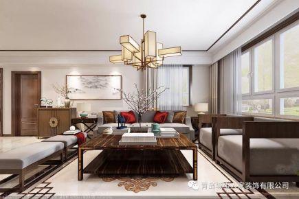 青岛午山社区雅致新中式风格三居室装修案例图