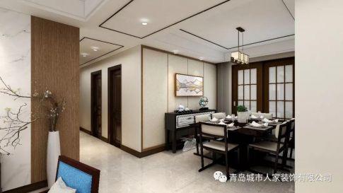 青島浪琴海雅致新中式風格四居室裝修案例圖