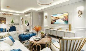 南寧綠地中央廣場105平米簡歐風格三室裝修效果圖