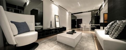 杭州創一居城南家園黑白現代風格裝修效果圖