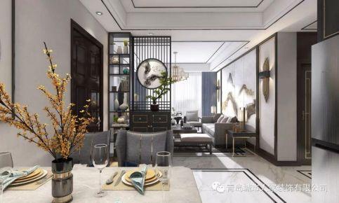 青島海裳印月雅致輕奢新中式三居室裝修效果圖