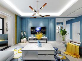 太原幸福廣場79㎡現代簡約風格裝修,簡單空間一抹藍,安靜舒適的質感