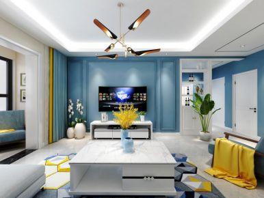 太原幸福广场79㎡现代简约风格装修,简单空间一抹蓝,安静舒适的质感